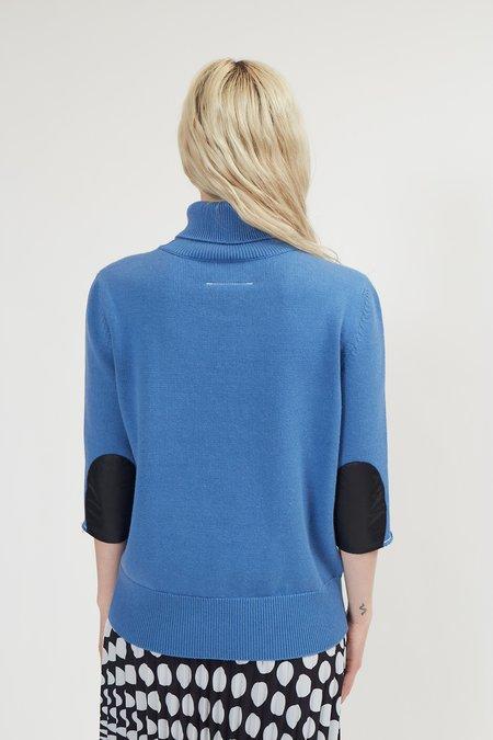 Maison Margiela Elbow Patch Cropped Sleeve Sweater - Blue