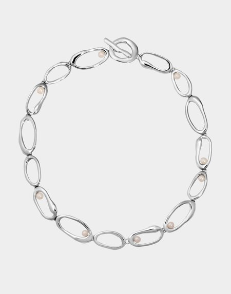 Modern Weaving Mini Oval Link Nested Pearls Nested Pearls Necklace - Sterling Silver