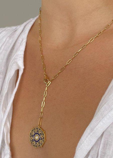 Thatch Karmic Wheel Lariat Necklace with Blue Enamel