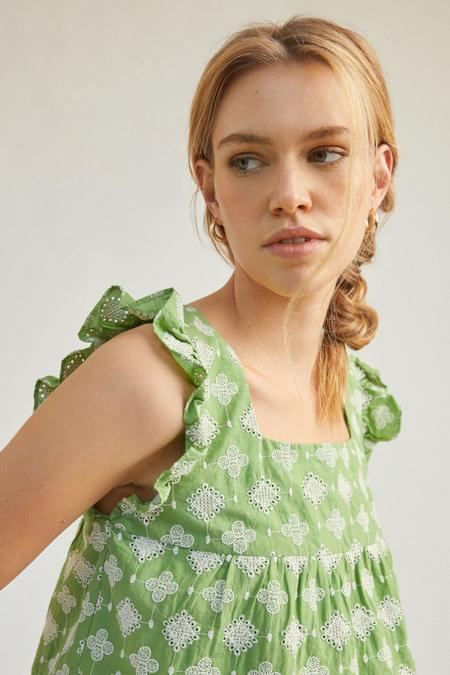 Mabel and Moss Gia Embroidered Ruffled Sleeve Blouse - Lime