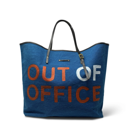 Kempton & Co. Out of Office Handpainted Tote - Ocean/Coral
