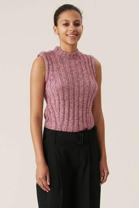 Ganni Chunky Glitter Knit Vest - Pink Nectar
