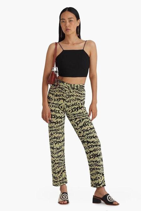 Paloma Wool Perty Linen Cotton Strappy Tank Top - Black