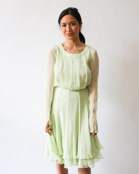 Oscar de la Renta Pastel Sheer Mini Dress