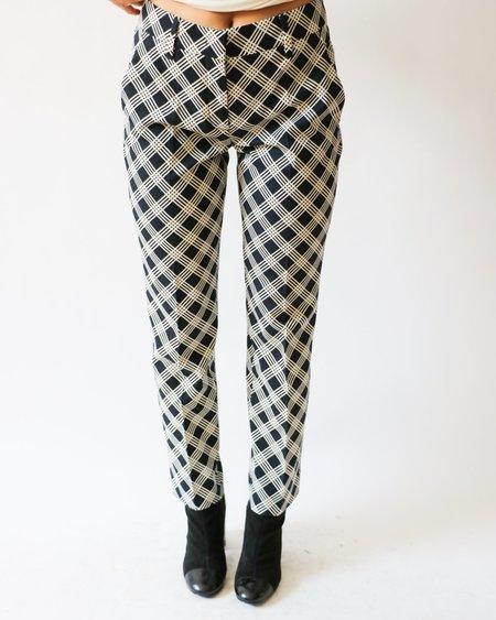 [Pre-loved] Prada Plaid Trousers - Black/White