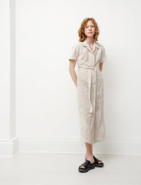 Our Legacy Cotton Linen Narrow Shirtdress - White Coated