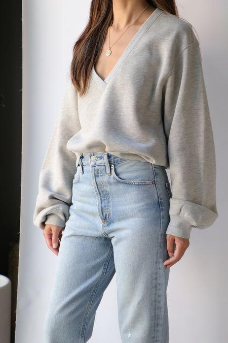 Agolde Balloon Sleeve Sweatshirt - Grey