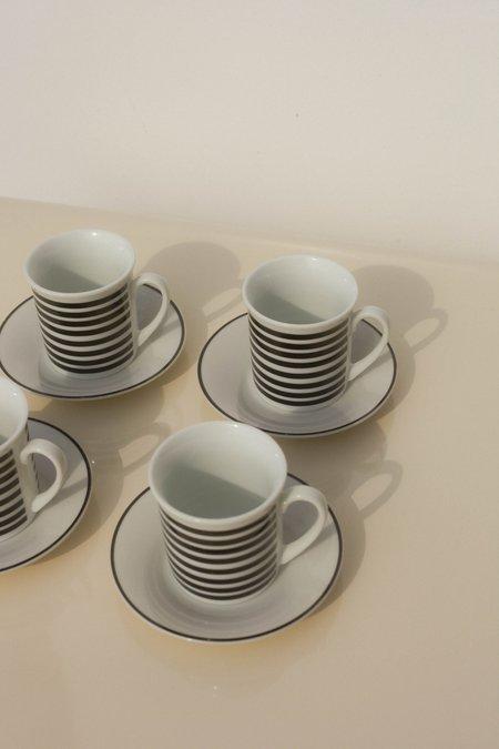 Pre-Loved Leigh Collective Striped Espresso Cups - White/Black