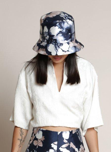 Unisex KAAREM Mushroom Flower Bucket Hat - Blue Floral Print