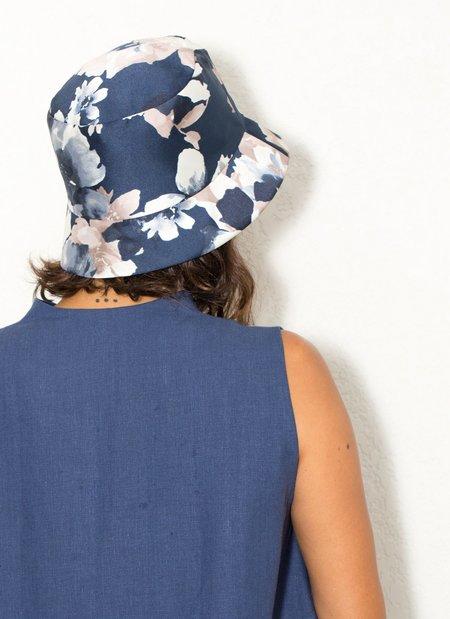 Kids Unisex Kaarem Mushroom Flower Bucket Hat - Blue Floral Print