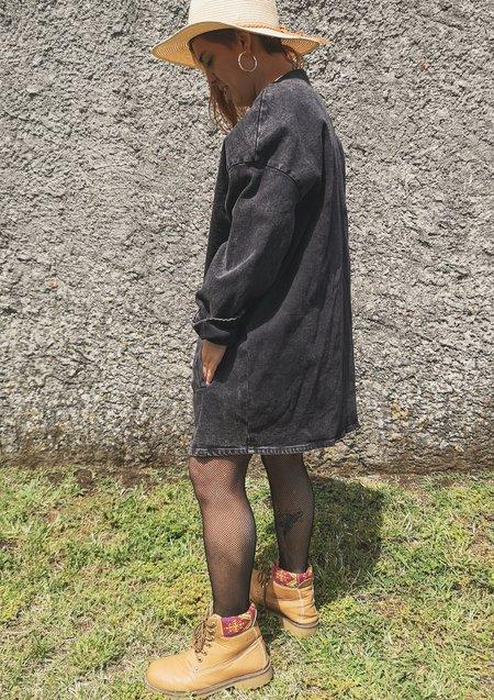 Berenik V-neck Zip Denim Summer Dress/Jacket - Washed Black