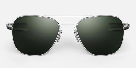 Randolph Engineering Aviator sunglasses - Bright chrome/dark green
