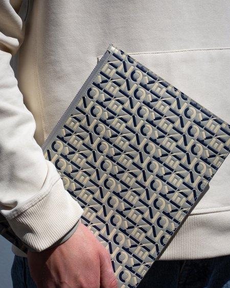 Kenzo Monogram Leather Zip Document Holder - Grey