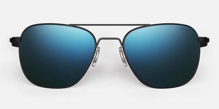 Randolph Engineering Aviator Polarised sunglasses - matt black/cobalt blue