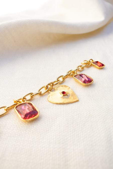 Mondo Mondo Heart Charm Bracelet - Red