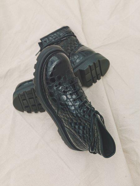 Departamento x Premiata Croc Leather Combat Boot - Black