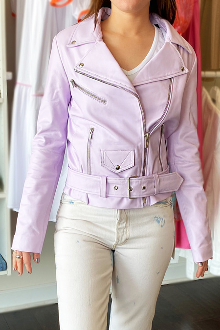 VEDA Jayne Smooth Leather Jacket - Lavender