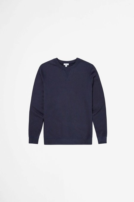 Sunspel Cotton Loopback Sweatshirt - Navy