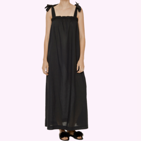 Le Petit Trou Alina Long Cotton Dress with Matching Brief - Black