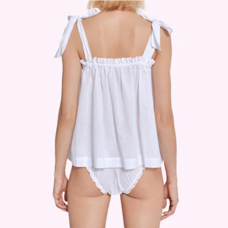 Le Petit Trou Lou Cotton Top with Matching Brief - White