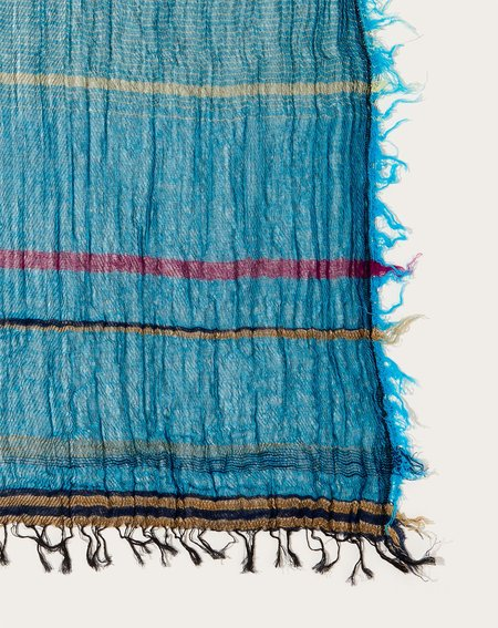Tamaki Niime Middle Roots Shawl - Turquoise/Red
