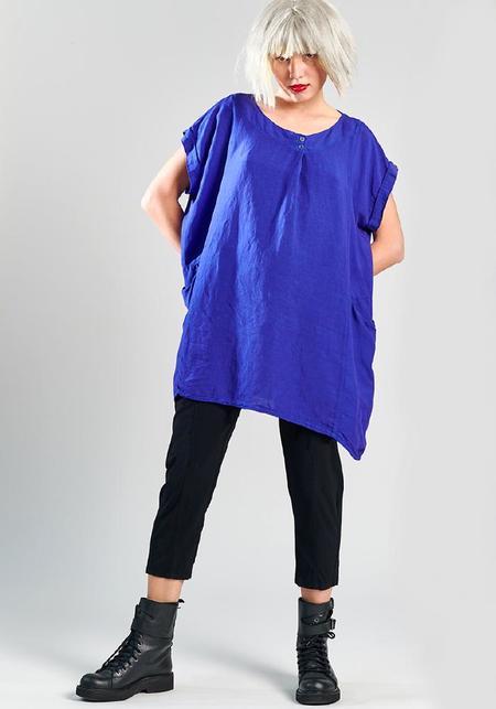 Lurdes Bergada Oversized Viscose and Linen Short Sleeve Top