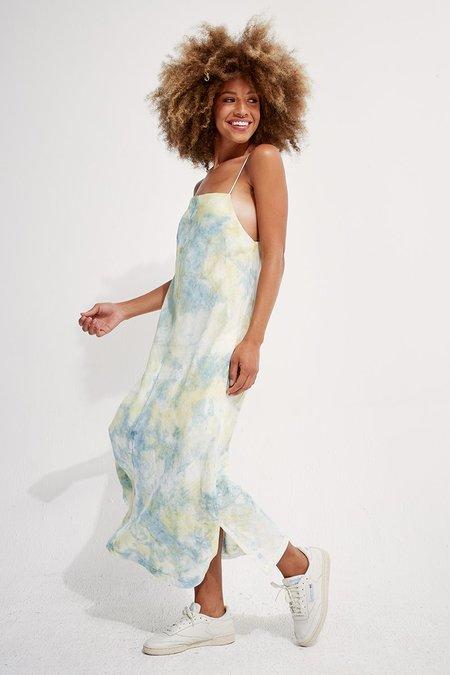 back beat rags Linen Apron Dress - Tie-Dye Marine/Honey