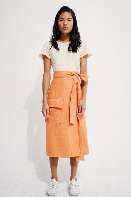 back beat rags Linen Wrap Cargo Skirt - Peach