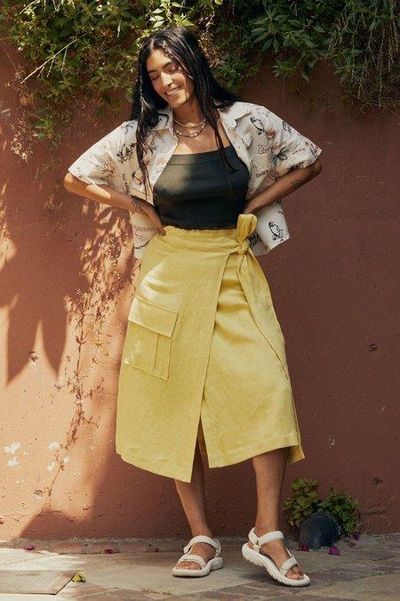 back beat rags Linen Wrap Cargo Skirt - Lime