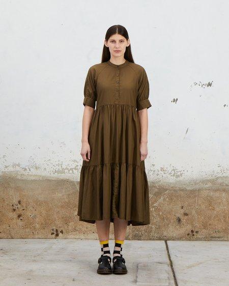 Ali Golden Raglan Tiered Dress - Olive