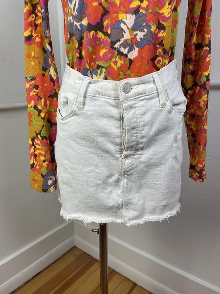 Pre-loved Mother Denim The Vagabond Mini Fray Skirt - OFF WHITE