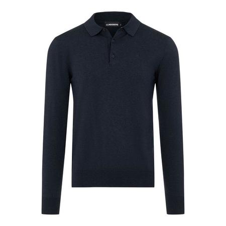 J Lindeberg Rowan Cotton Silk LS Polo - Navy