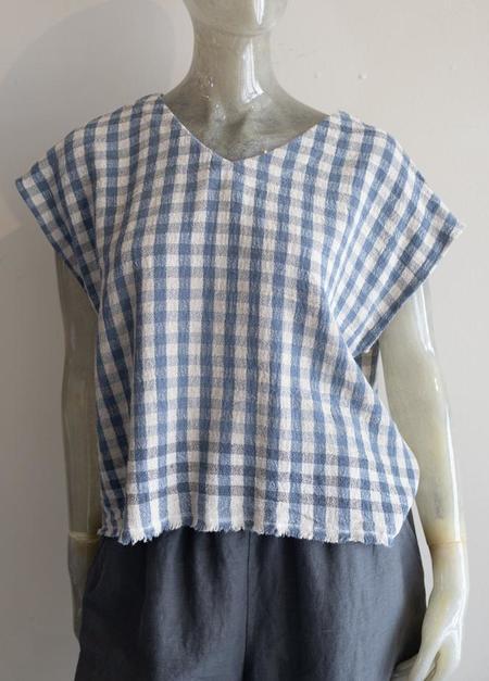 Yuvita Linen V Neck Blouse - BLUE/WHITE
