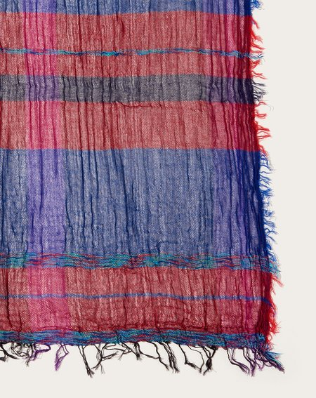Tamaki Niime Big Roots Shawl - Red/Blue