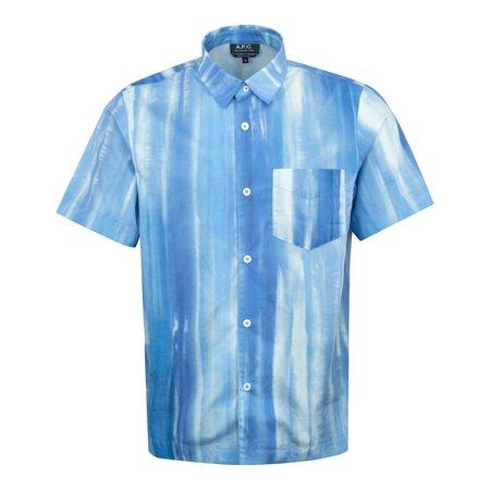 APC Joseph Tye Dye Poplin SS Shirt - Blue