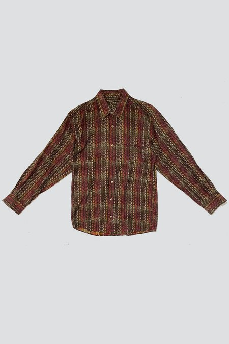 Vintage Cotton Ember Wavy Pattern Button Up Shirt - MULTI