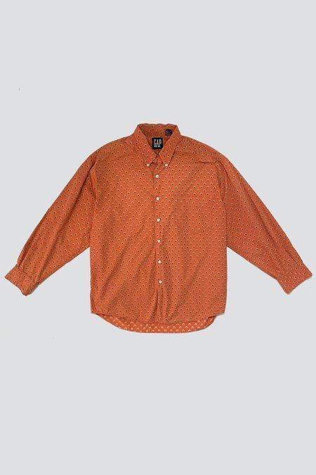 Vintage Cotton Soft Button Up Shirt - Orange Flower