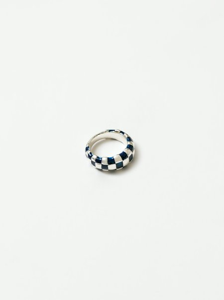 Wolf Circus Libby Thick Checkered Ring - Navy/Silver