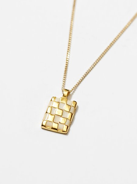 Wolf Circus Penny Checkered Pendant - Creme/Gold