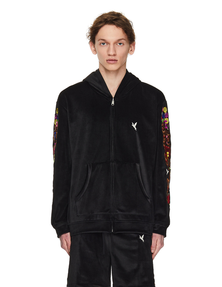 Doublet Velour Embroidered Hoodie - Black