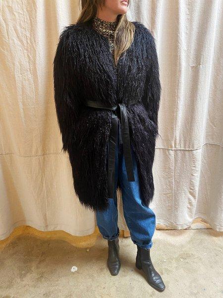 Pre-loved MOXIE SHAGGY COAT - BLACK