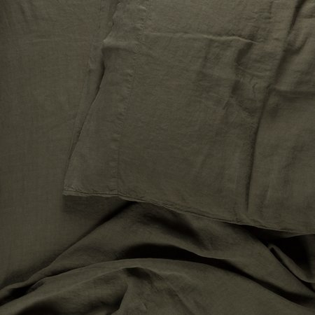 Westerlind Simple Linen Fitted Sheet Queen - Olive