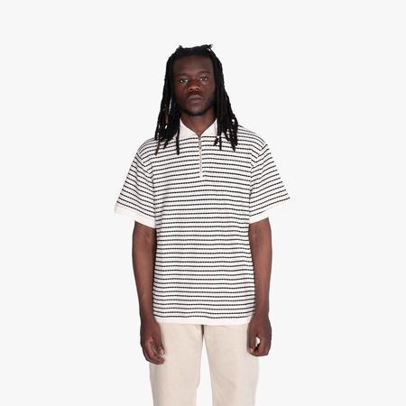 Fucking Awesome School Day Quarter Zip Polo Shirt - Black/White