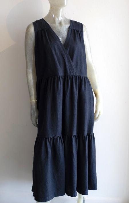Yuvita Linen Midi Faux Wrap Dress
