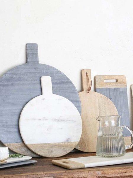 Nkuku Small Bwari Round Marble Board - White/Mango
