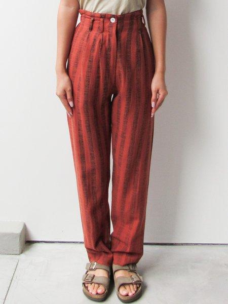 at Dawn. Linen Blend Trouser - Brown Stripe