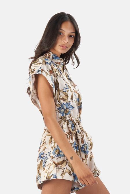 Zimmermann Aliane Roll Cuff Playsuit - Khaki Floral