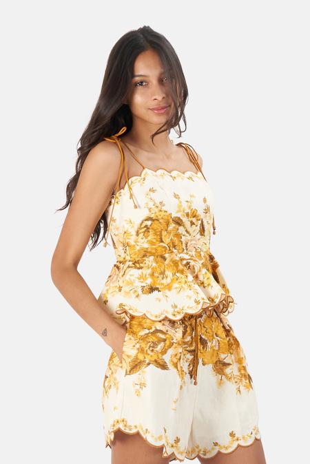 Zimmermann Aliane Scallop Top - Amber Floral