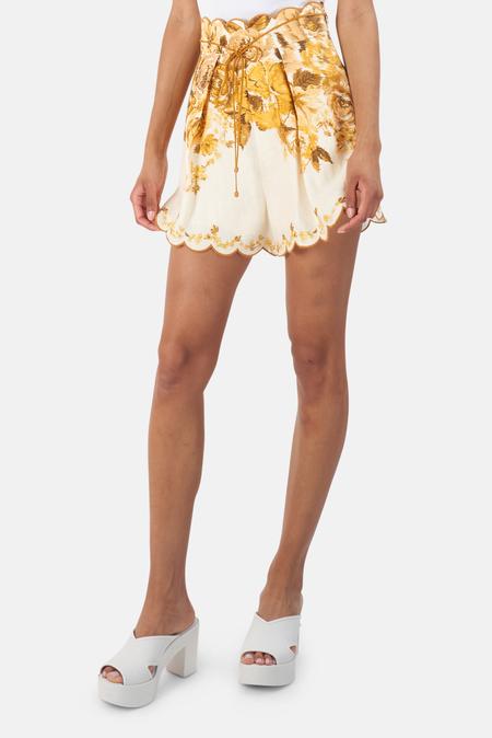 Zimmermann Aliane Scallop Short - Amber Floral