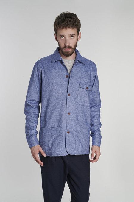 Delikatessen SS20 Portuguese Cotton Flannel Overshirt - Fine Blue